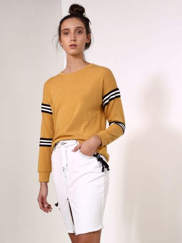 חצאית ג'ינס לבנה עם שרוכים של GLAMOROUS