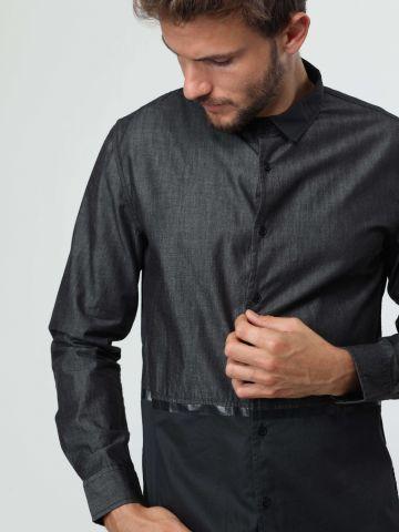 חולצה מכופתרת קולור בלוק עם פס דמוי עור של TERMINAL X