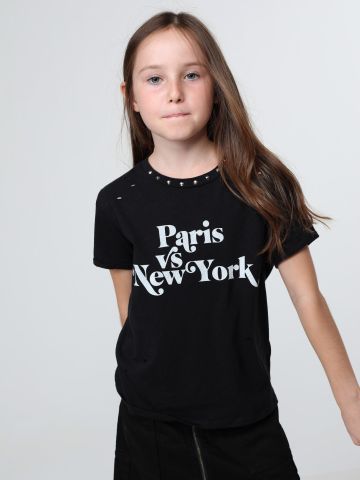 טי שירט Paris VS New York בעיטור ניטים של TERMINAL X KIDS