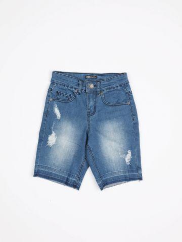 ג'ינס קצר עם הלבנה בעיטור קרעים / בנים של TERMINAL X KIDS