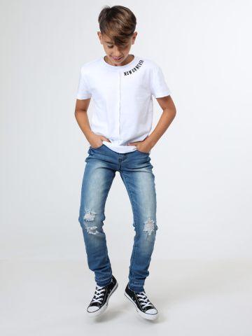 ג'ינס גזרה ישרה עם קרעים / בנים של TERMINAL X KIDS