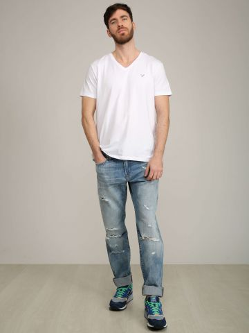 ג'ינס גזרה ישרה עם קרעים של AMERICAN EAGLE