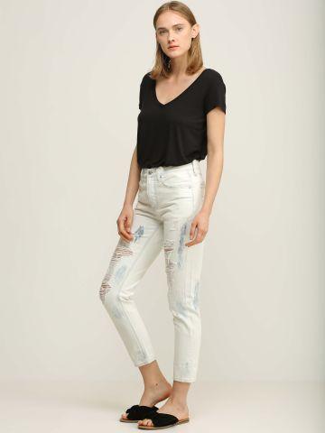 ג'ינס סקיני טאי דאי עם קרעים של AMERICAN EAGLE
