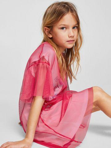 שמלת טי שירט עם הדפס וטול של MANGO