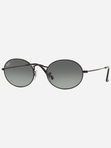 משקפי שמש אובליים עם עדשות שטוחות Oval Metal של RAY-BAN
