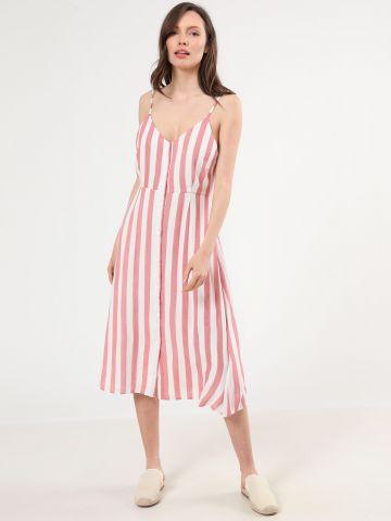 שמלת מידי מכופתרת בהדפס פסים של GLAMOROUS