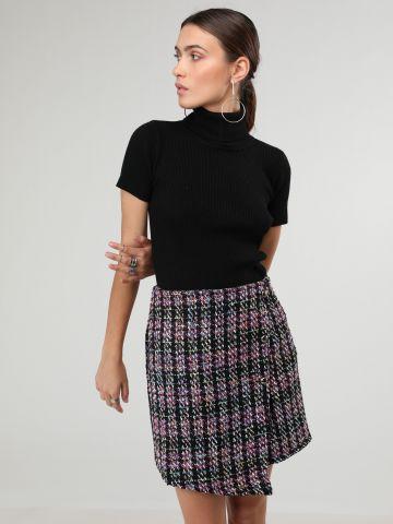 חצאית סרוגה צבעונית סיומת אסימטרית של GLAMOROUS