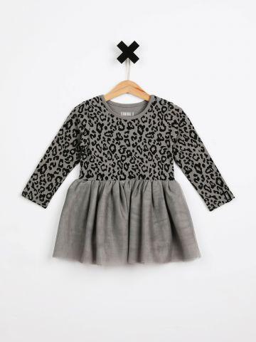 שמלת בגד גוף בהדפס מנומר עם חצאית טול / בייבי בנות של TERMINAL X KIDS