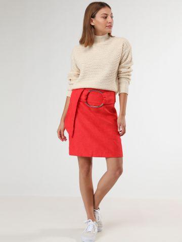 חצאית מיני עם חגורת חישוק מתכת של LOST INK