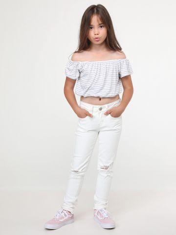 ג'ינס סקיני בעיטורי קרעים Cream Raw Edge של AMERICAN EAGLE