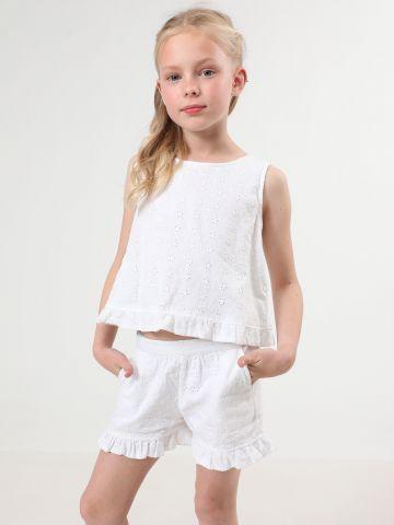 מכנסיים קצרים עם רקמת פרחים וסיומת מלמלה של TERMINAL X KIDS