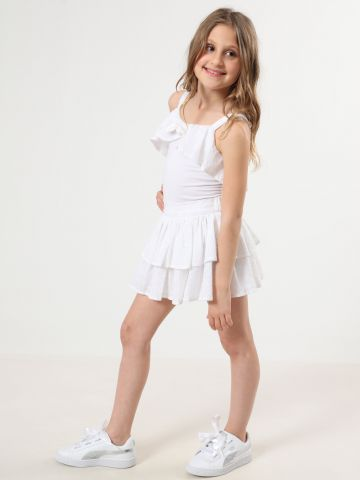 בגד גוף עם עיטורי מלמלה ואלמנט קשירה בחזית / בנות של TERMINAL X KIDS