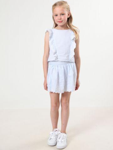 חצאית פסים מיני עם עיטורי רקמה של TERMINAL X KIDS