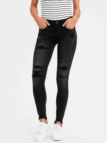 ג'ינס בשטיפה כהה עם טלאים תפורים Jegging של AMERICAN EAGLE
