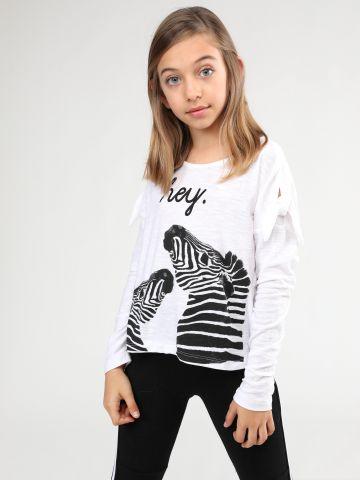 חולצה בהדפס זברות עם עיטורי קשירה של TERMINAL X KIDS