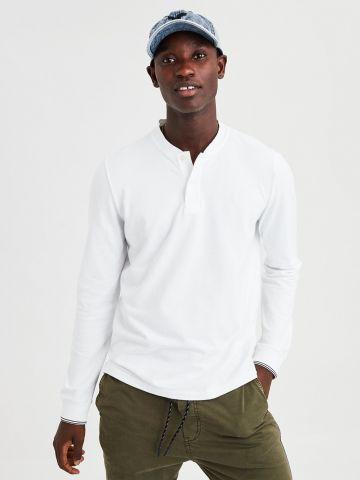 חולצת פולו עם סיומת מודגשת בשרוולים של AMERICAN EAGLE