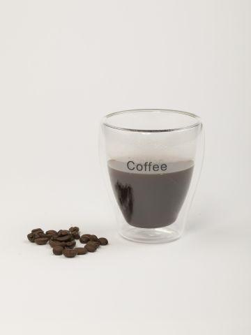 כוס קפוצ'ינו מזכוכית כפולה עם כיתוב Coffee של FOX HOME