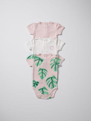 מארז 3 בגדי גוף עם הדפסים ורקמה / בייבי בנות של TERMINAL X KIDS