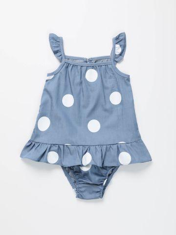 שמלה בהדפס נקודות עם מלמלה / בייבי בנות של TERMINAL X KIDS