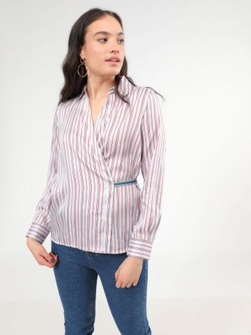 חולצת מעטפת בהדפס פסים מולטי קולור של PEPE JEANS