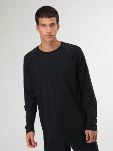 חולצת ספורט בשילוב רשת עם שרוולים ארוכים של UNDER ARMOUR