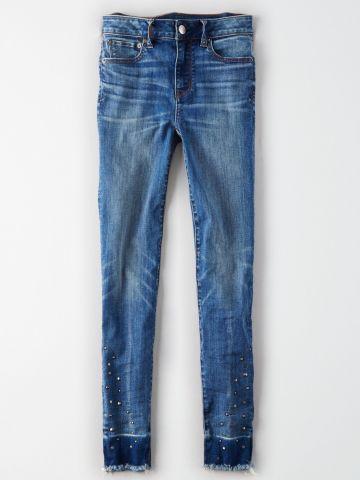 ג'ינס סקיני סטרץ' בעיטור ניטים / נשים של AMERICAN EAGLE