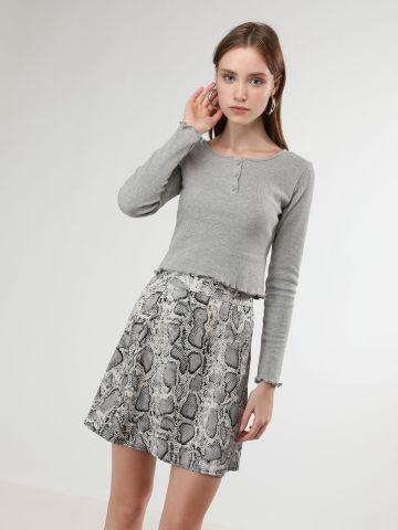 חצאית מיני בהדפס נחש של TERMINAL X