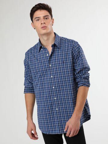 חולצה מכופתרת בהדפס משבצות עם רקמת לוגו של RALPH LAUREN