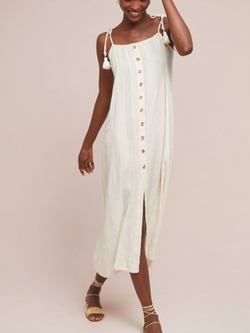 שמלת מידי מכופתרת עם עיטורי גדילים של ANTHROPOLOGIE
