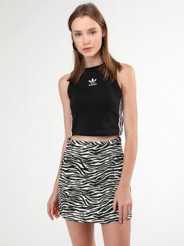 חצאית קנבס מיני בהדפס זברה של TERMINAL X