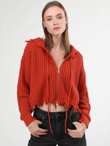 סוודר קרופ עם רוכסן וסיומת פרומה של TERMINAL X