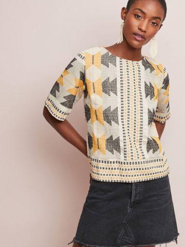 חולצה בהדפס גאומטרי עם רצועות קשירה מאחור The Odells של ANTHROPOLOGIE