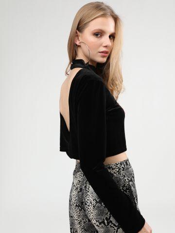חולצת קרופ קטיפה עם צווארון גבוה של TERMINAL X