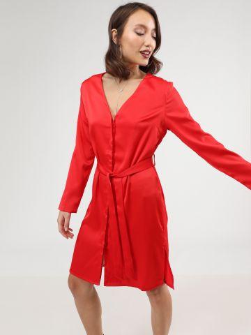 שמלת סאטן מיני עם חגורת קשירה של TERMINAL X