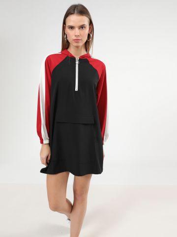 שמלת קפוצ'ון מיני קולור בלוק של TERMINAL X