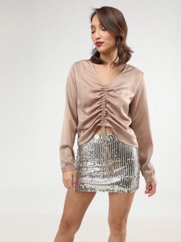 חצאית מיני פאייטים מטאליים של TERMINAL X