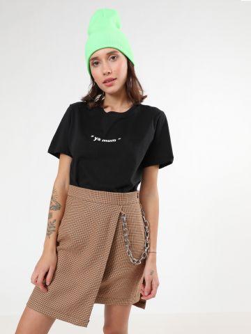 חצאית משבצות מיני בסגנון מעטפת עם שרשרת של THE RAGGED PRIEST