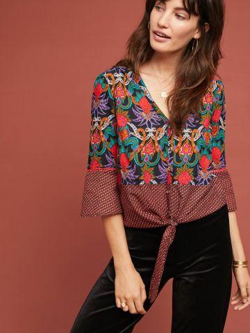 חולצה מכופתרת בהדפס פרחים ומעוינים עם אלמנט קשירה Maeve של ANTHROPOLOGIE