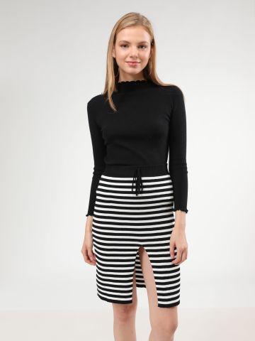 חצאית סריג פסים מידי עם שסע של TERMINAL X