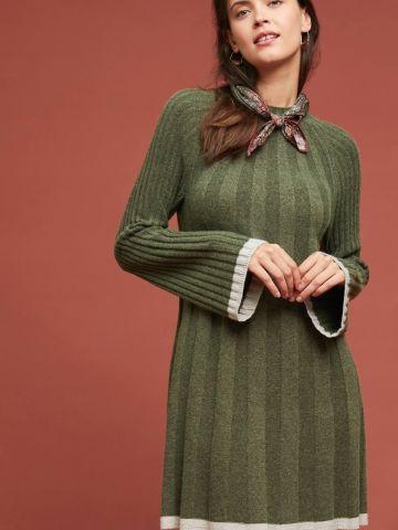 שמלת סוודר ריב מיני עם שוליים מודגשים של ANTHROPOLOGIE