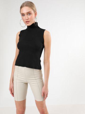מכנסי בייקר קצרים דמוי עור של TERMINAL X