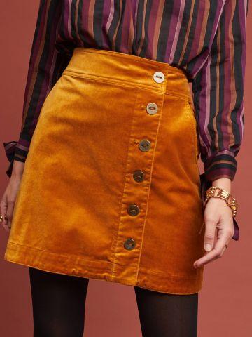 חצאית מיני קטיפה עם כפתורים Maeve של ANTHROPOLOGIE
