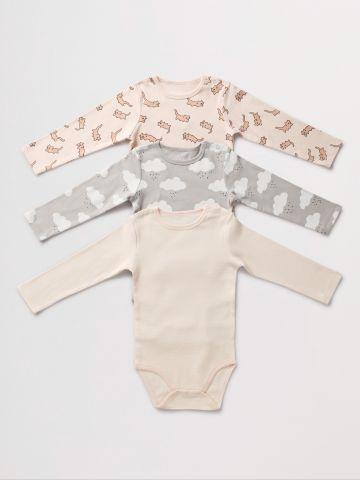 מארז 3 בגדי גוף בהדפסים שונים / 0-2Y של TERMINAL X KIDS