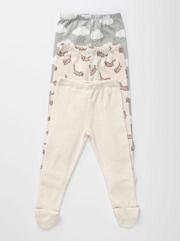 מארז 3 מכנסיים בהדפסים שונים עם רגליות / 0-2Y של TERMINAL X KIDS