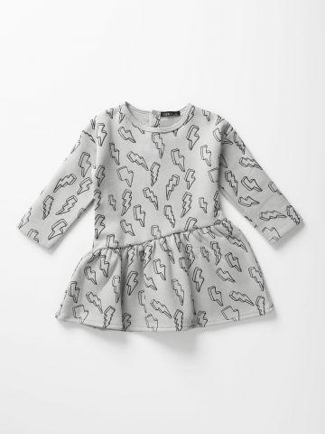 שמלת סווטשירט פוטר בהדפס ברקים / 0-6Y של TERMINAL X KIDS