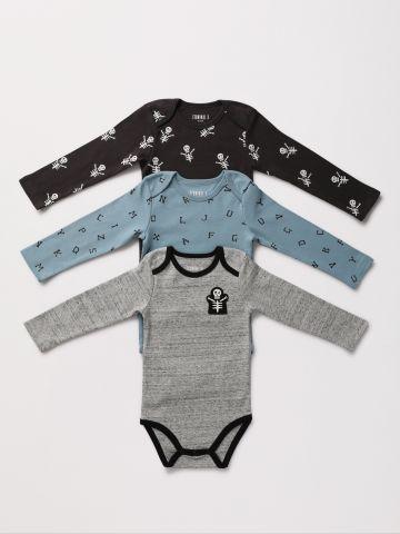 מארז 3 בגדי גוף עם הדפסי שלדים / 0-2Y של TERMINAL X KIDS