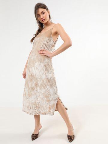 שמלת קטיפה מידי עם שסעים של TERMINAL X