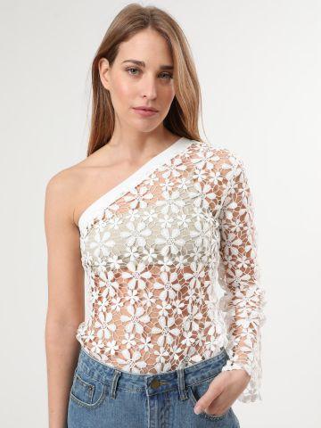 חולצת תחרת פרחים וואן שולדר של TERMINAL X