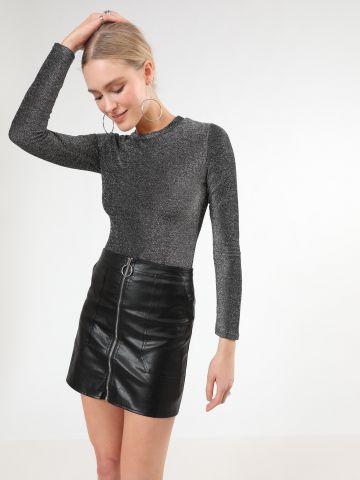 חצאית מיני דמוי עור עם רוכסן של TERMINAL X