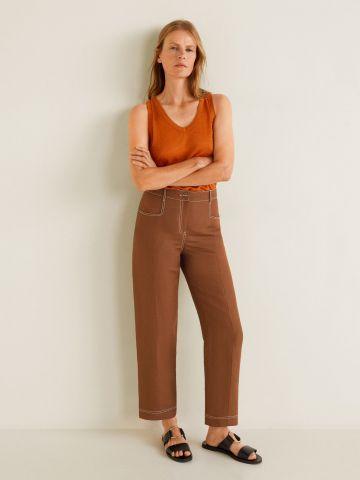 מכנסיים בשילוב פשתן עם תיפורים קונטרסטיים של MANGO
